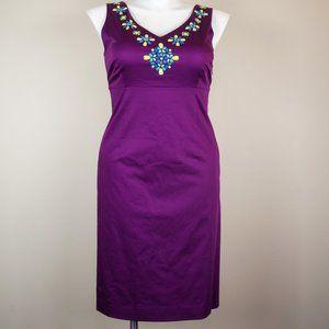 Boden Dress Bejeweled Purple Sheath Sleeveless NWT